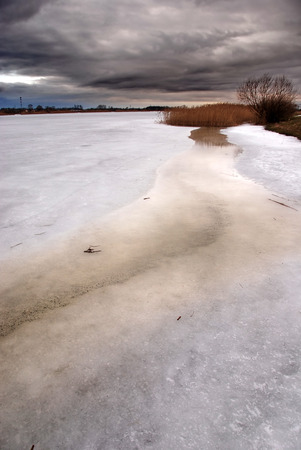 Storm clouds over a frozen lake Stock Photo - 1525201
