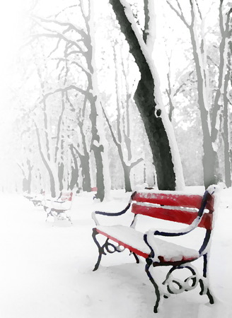 foggy: Red benches in the fog in winter