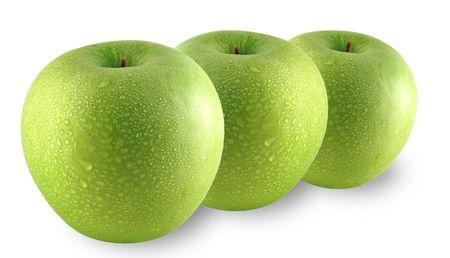 sprinkled: Green apples sprinkled with water