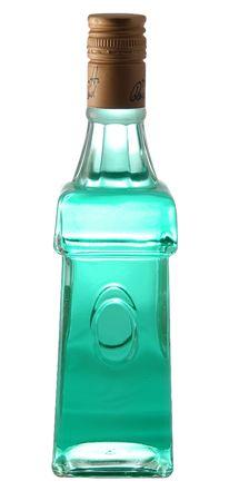 ajenjo: Una botella de absenta en fondo blanco