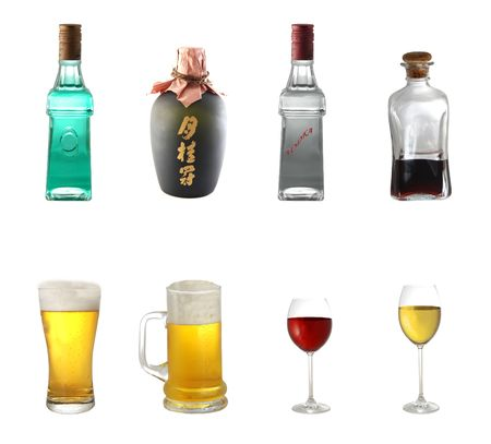 sake: Alcohol mix isolated on white background