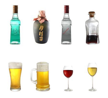japanese sake: Mezcla de alcohol aislados en fondo blanco
