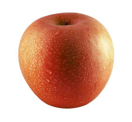 sprinkled: Red apple sprinkled with water