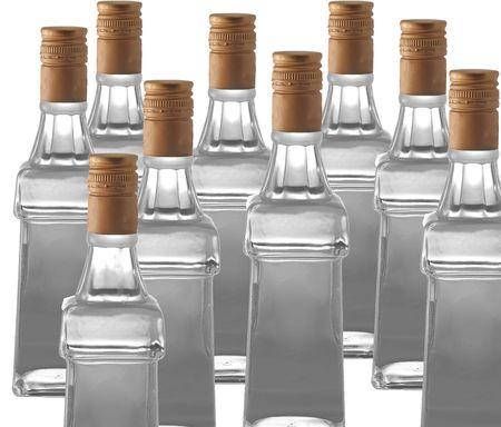 Las botellas de vodka a fondo blanco  Foto de archivo - 1934678