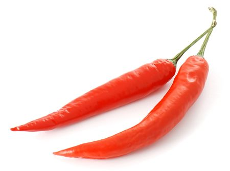 pungent: Two chili peppers Stock Photo