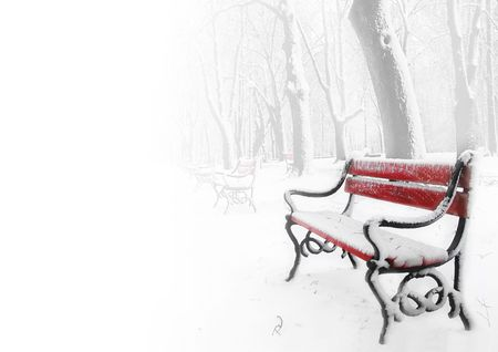 snowlandscape: Red benches in the fog in winter