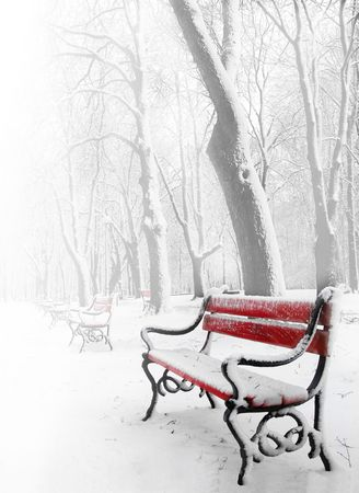 Red benches in the fog in winter Stock Photo - 2130325
