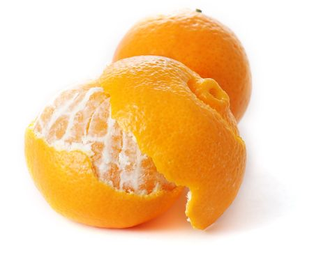 orange peel skin: Tangerines on white background