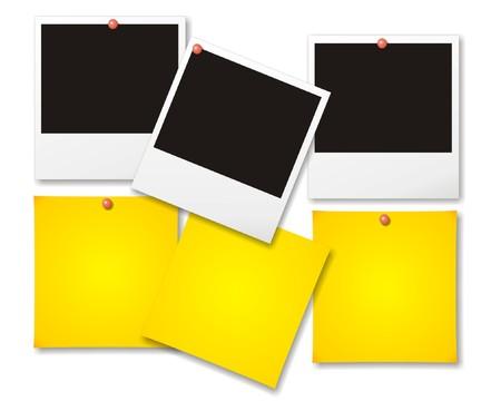 stapel papieren: Blanco foto's met post-it notities vector