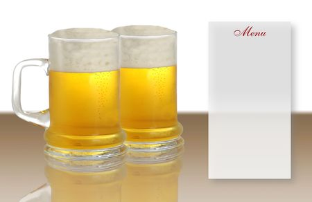 tankard: Two pints of beer and blank menu Stock Photo
