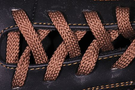 Shoe laces in close-up photo