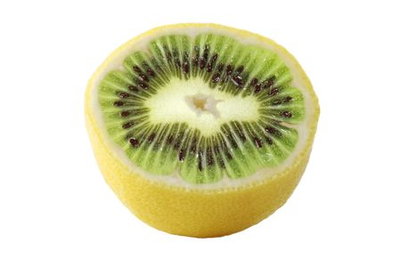 illogical: Genetic engineering - lemon with kiwi inside Stock Photo
