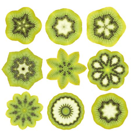 illogical: Abstract kiwi shapes isolated on white background