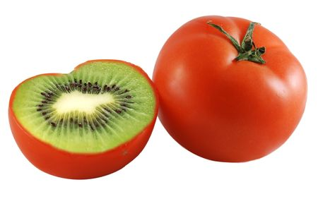 Genetic engineering - tomato with kiwi inside photo