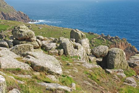 Beautiful mountain landscape in Lands End, UK photo