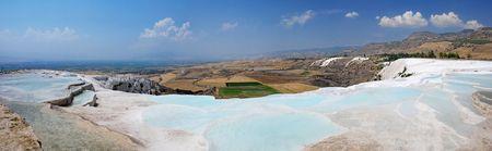 phenomena: Travertine pools and terraces panorama, Pamukkale, Turkey