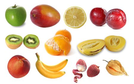 pepino: Assembling of delicious fruit Stock Photo