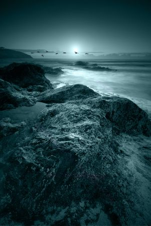 Moonlit ocean photo