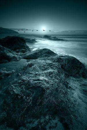 rough sea: Moonlit ocean