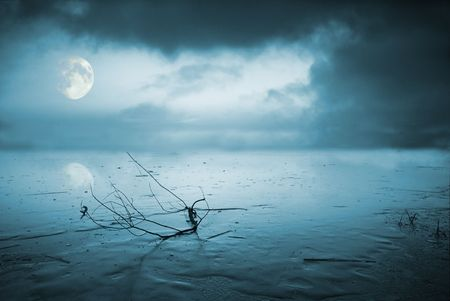 Frozen lake in moonlight Stock Photo - 3853119