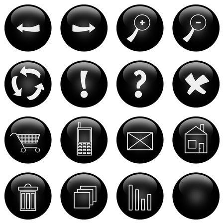 log basket: Glossy web icons set Stock Photo