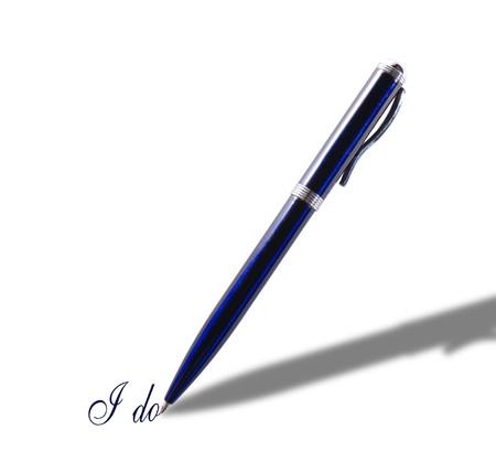 Blue penna iscritto fare Archivio Fotografico