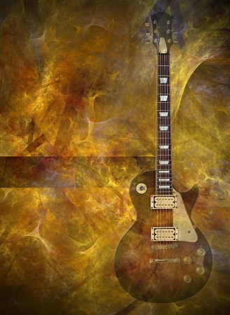 fretboard: Electric guitar on flaming background