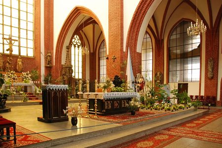 St Elizabeth Church interior in Wroclaw, Poland