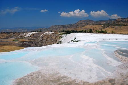 Travertine pools and terraces, Pamukkale, Turkey photo