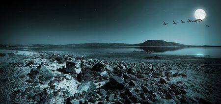 Lake Salda in Turkey at night photo