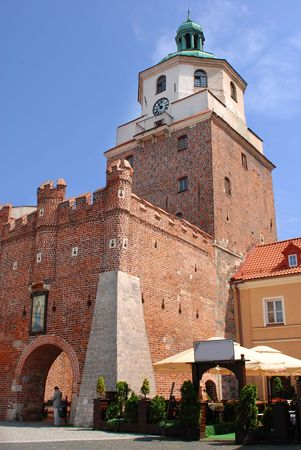 redbrick: Old redbrick tower in Lublin, Poland Stock Photo