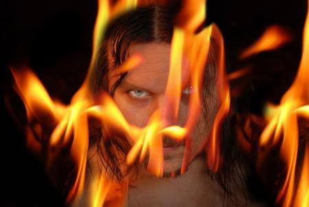 Flaming demon - halloween theme photo