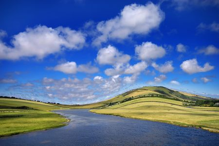 Beautiful summer landscape with a winding river photo