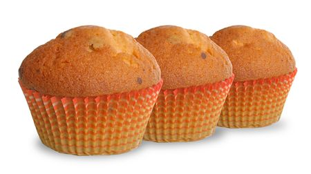 choco chips: Delicious muffins isolated on white background