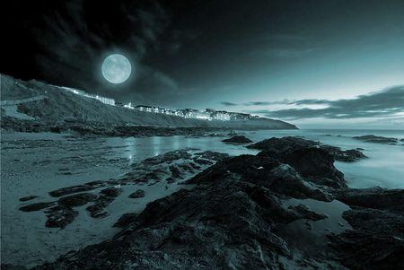 Full moon over the ocean photo