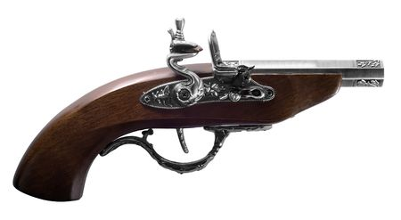 flintlock: Old flintlock pistol isolated on white background