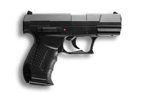 semi automatic: Black semi automatic handgun isolated on white background