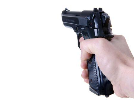 pistolas: Ca��n dirigido aislado sobre fondo blanco