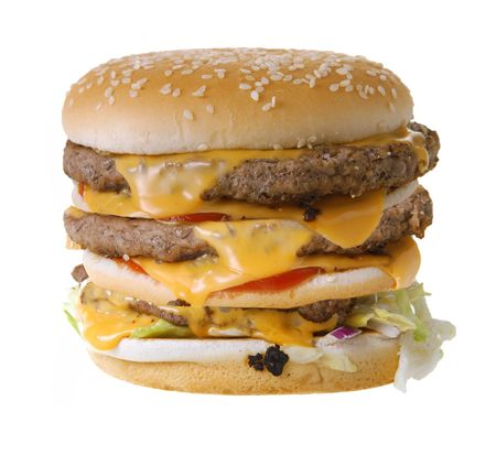 Triple cheeseburger isolated on white background