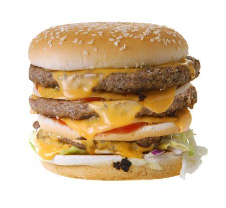 Triple cheeseburger isolated on white background photo