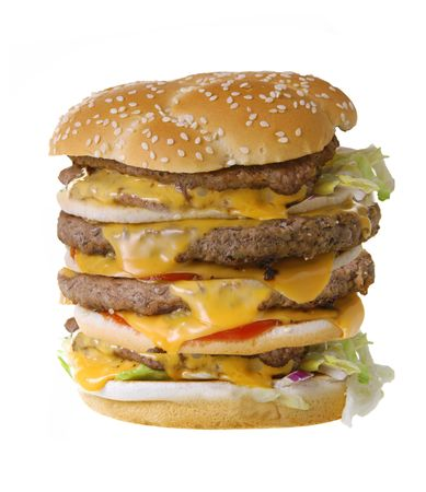 Quadruple cheeseburger isolated on white background photo