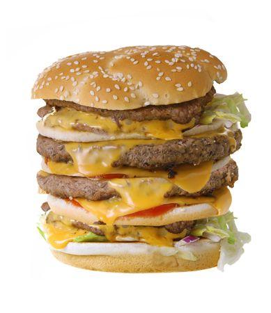quadruple: Quadruple cheeseburger isolated on white background Stock Photo