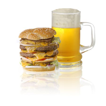 quadruple: Quadruple cheeseburger and beer isolated on white background