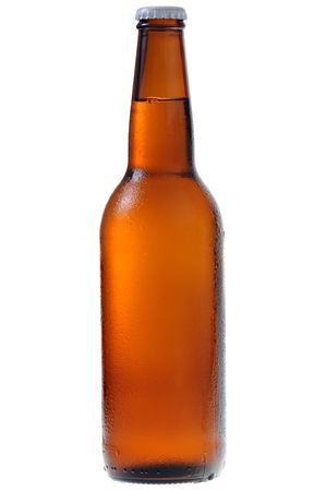 single beer bottle: A bottle of beer isolated on white background Stock Photo