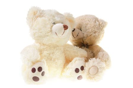 infancy: Fluffy teddy bears isolated on white background