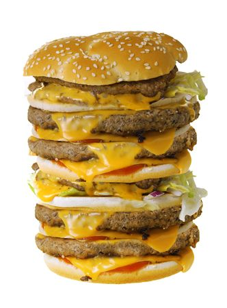Mega cheeseburger isolated on white background Stock Photo