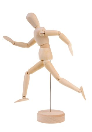 Running wooden manequin photo