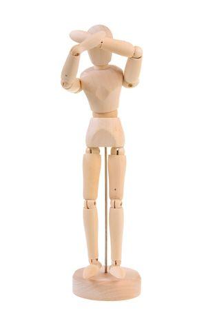 manequin: Wooden manequin in pain