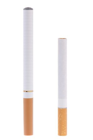 Electronic cigarette compared to real one Stock Photo - 5995018