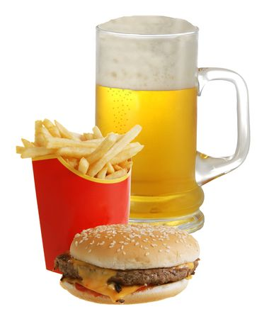 Cheeseburger French fries and beer isolated on white background  photo